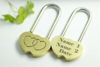 Engraved Love Lock - Padlock wedding engagement anniversary bridge ELEGANT gift