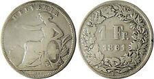 SUISSE  ,  1  FRANC    1861 B  BERNE
