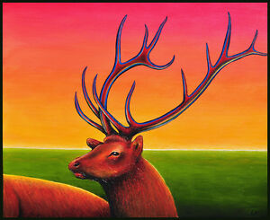 Expressionist painting of an elk / deer by Australian artist Cliff Howard.