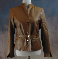 Jones New York Coll. Wome's Brown 2-Pocket Button Down Leather Jacket Size S