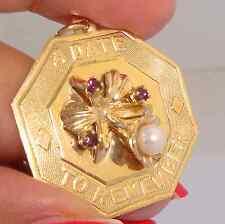 Y Gold Flower Octagonal Charm Pendant Retro Akoya Pearl & Garnet Solid 14K