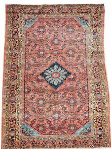 Oriental carpet antique handmade wool Mahal rug in light red 6 x 4 FT