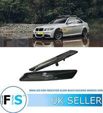 BMW 1 3 5 6 X1 X3 SERIES LED SIDE INDICATOR GLOSS BLACK HOUSING SMOKED LENS OEM