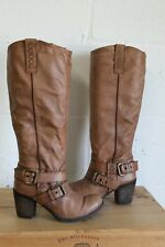 TAN BROWN SOFT LEATHER MID HEEL RIDING STYLE BOOTS SIZE 4 / 37 BY NEXT USED CON