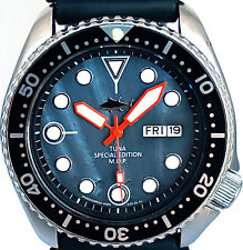 Vintage mens Seiko Diver 6309 mod w/SPECIAL Ed. Black TUNA Mother of Pearl dial!