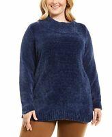 Karen Scott Plus Womens Chenille Split Neck Pullover Estate Blue Size 1X
