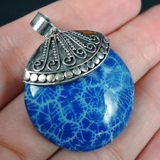 BLUE Coloured CORAL & 925 Sterling Silver Pendant Jewelry, SMALL