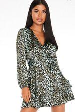 Quiz Leopard Print Wrap Dress 8 10 12 BNWT
