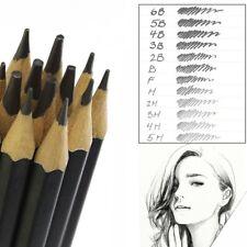 12 GRADED ART SKETCHING PENCILS IN CASE H,B Drawing/Shades/Light/Dark UK