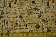 By 1/2 Yd, Home Craft Phrases & Notions on Gold Cotton, MMFab/Mumm, P1920