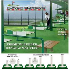 Rubber Golf Mat Tees & Wood Tee Adapters for Driving Range & Practice Golf Mats
