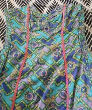 TIGERLILY Boho Strapless Heart Neckline Dress Size 12 Aqua Paisley Fitted