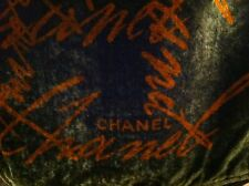 CHANEL DARK GREEN ORANGE VELVET WRAP SHAWL SCARF