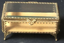 WOW! Vintage Gold Jewelry Box Casket Antique *HOLLYWOOD REGENCY Beveled Glass