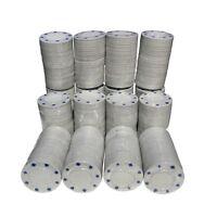1000 x WHITE FULL WIDTH POKER ROULETTE CASINO CHIPS - SUITED DESIGNS TOKENS