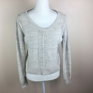 Mossimo Supply Co Womens Juniors Oatmeal Short Crop Gray Sweater M