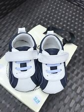 New My Mocs Jack & Lily Boys Blue White Leather Shoes 12-18 Mos Us 4.5 5