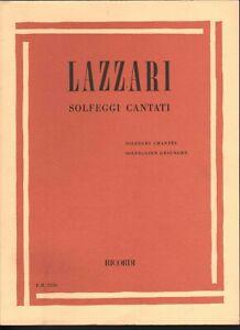 Lazzari Spartito Solfeggi Cantati / Ed Ricordi E.R. 2256 Nuovo