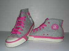 PRO KEDS ROCAWEAR HI-TOPS HEATHER GRAY HOT PINK BEADED EMBROIDERY SIZE 10 EUC!