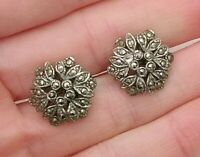 Vintage 1940s Deco marcasite Hexagon flower Old screw Clip silver tone earrings