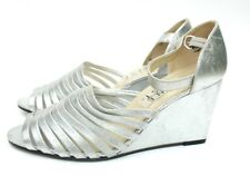 NEW Women's silver size 6 1/2 NINE WEST shoes, wedge heels, all leather, narrow