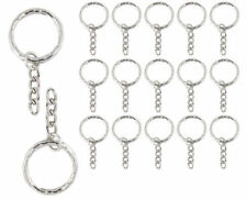 Silver Key Ring Blanks 52 mm chain Split Rings 4 Link Chain