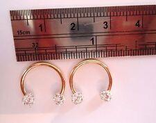 Gold Titanium Earrings Horseshoes Ear Rings Clear Crystal Balls 16 gauge 16g