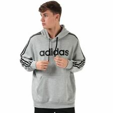 Men's adidas Essentials 3-Stripes Regular Fit Hoodie Sweatshirt in Grey