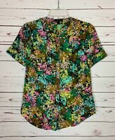 J.Crew Women's 4 Black Green Silk Floral Short Sleeve Button Spring Top Blouse
