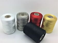5 Large Heavy Duty Silk Rayon Embroidery Machine Thread Spools Solid Colours UK