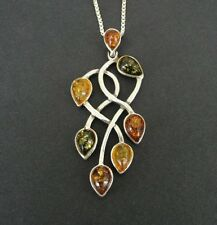 Long Amber Stones Multi Color Sterling 925 Silver Pendant Chain Necklace