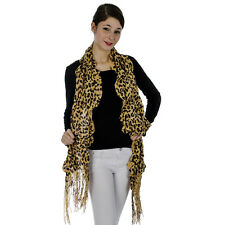 Knit Ruffle Trim Leopard Scarf Tan With Fringe Accents