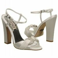NIB Badgley Mischka JEWELED satin bridal sandals open toe pump shoes White 10