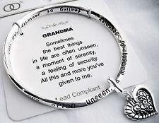 Grandma Silvertone Bangle Bracelet-Heart Charm-Inspirational Grandmother Poem