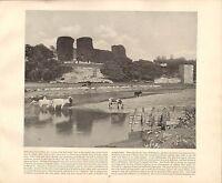 1894 Vittoriano Stampa ~ Rhuddlan Castle San Asaph ~ Forti ( Testo