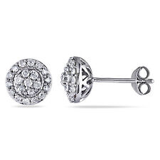 Amour Sterling Silver 1/2 ct TDW Diamond Stud Earrings H-I I2-I3