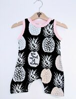 Pink, Black pineapple Romper Aloha Poppers Baby Girl 0 3 6 12 18 Months