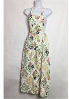 Vintage Table Togs Of Dallas Floral Long Full Maxi Length Tie Back Womens Apron