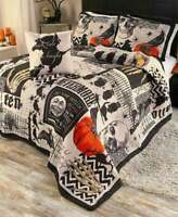 Nevermore 4Pc Full Queen King Quilt Pillow Sham Bedding Set Halloween Pumpkin