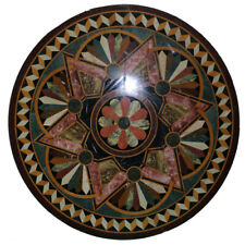 """18""""x18"""" Black Round Marble Coffee Table Top Inlay Work  Decorative"""
