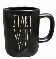 Rae Dunn - START WITH YES - LL Matte Black Ceramic Mug Artesian Collection