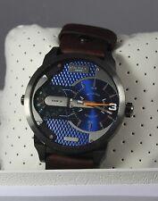 Diesel DZ7339 Men's Mini Daddy Blue Textured Dial Brown Leather Strap Watch NEW
