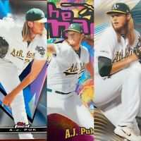 (5) A.J. Puk 2020 TOPPS FINEST THE MAN/FINEST FIRSTS/BASE/RC LOT ATHLETICS AJ