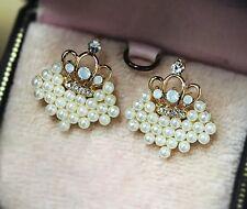 1Pair Of Women Elegant Crown Pearl Rhinestone Stud Earrings