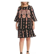 luxology women dress plus size 18W NWT retails $105 multicolor shift bell sleeve