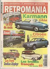 RETROMANIA 66 DOSSIER VW KARMANN GHIA SIMCA VERSAILLES FORD ZODIAC FORD ZEPHYR
