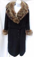 Stunning Vtg Womens Black Wool Fox Fur Collar Cuffs Belted Wrap Coat Jacket M