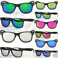 MATTE Black Square  Mirror lens Mens Womens Sunglasses Full UV400 Protection