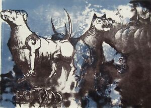 Latin American Expressionist Fierce Dogs Large POWERFUL Period Serigraph #2 NR