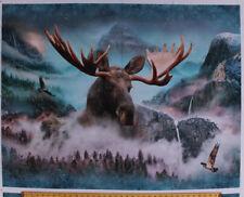 "34.5"" X 44"" Panel Moose Hawks Wildlife Nature Landscape Cotton Fabric D483.17"
